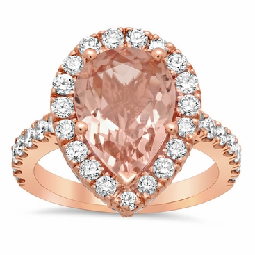 Morganite Pear Pave Halo Engagement Ring - click to enlarge