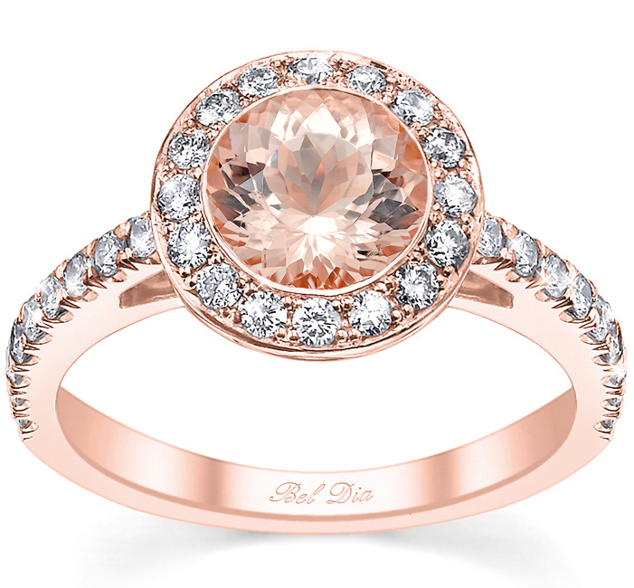 morganite rose gold bezel style halo wedding ring - Rose Gold Wedding Ring