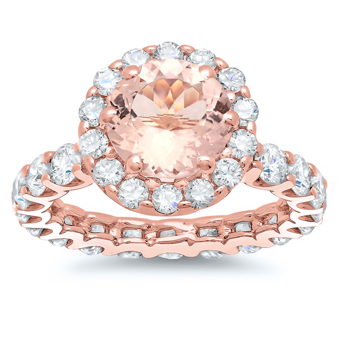 morganite rose gold eternity engagement ring - Wedding Rings For Sale