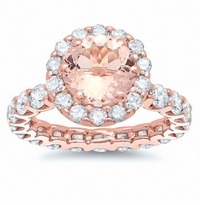 Morganite Rose Gold Eternity Engagement Ring