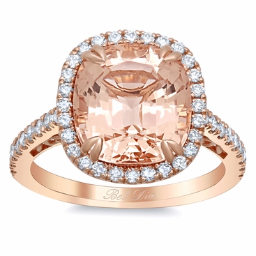 Morganite Rose Gold Halo Engagement Ring with Floral Basket