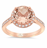 Morganite Round Engagement Ring with Halo