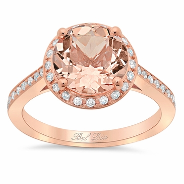 Morganite Round Engagement Ring with Halo - click to enlarge