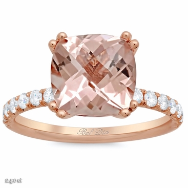 Morganite Square Pave Engagement Ring - click to enlarge