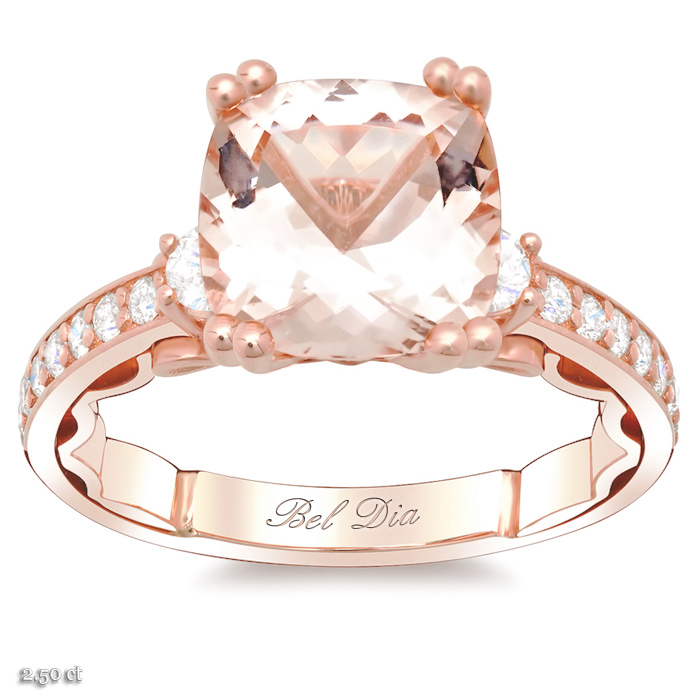 morganite three stone engagement ring - Stone Wedding Rings