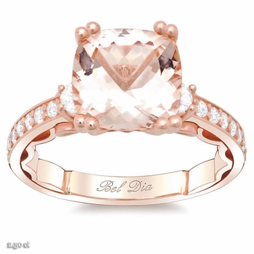Morganite Three Stone Engagement Ring - click to enlarge