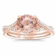 Morganite Twisted Double Shank Engagement Ring