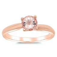 Morganite Twisted Solitaire Engagement Ring