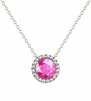 Necklace with Pink Sapphire and Diamond Halo
