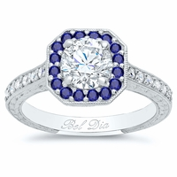 Octagonal Engagement Ring with Sapphire Halo and Diamond Accents