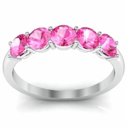 October Birthstone Ring AAA Quality Pink Sapphires