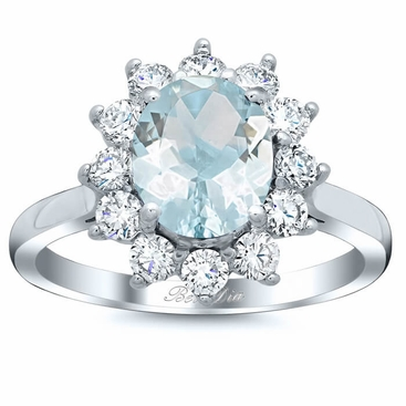 Oval Aquamarine Floral Halo Diamond Engagement Ring - click to enlarge