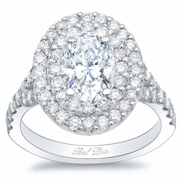 Oval Baby Split Double Halo Engagement Ring - click to enlarge