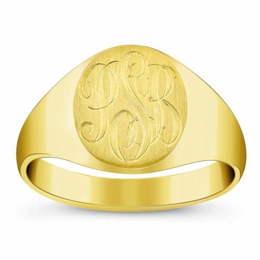 Oval Center Ladies Gold Signet Rings - click to enlarge