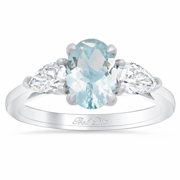 Oval Cut Aquamarine Three Stone Ring with Pear Diamonds - click to enlarge