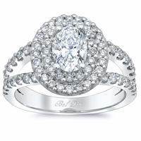 Oval Low Split Double Halo Engagement Ring