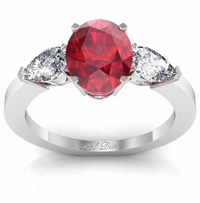 Oval Ruby Three Stone Engagement Ring