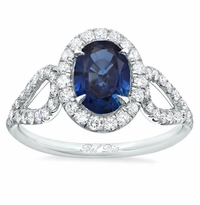 Oval Sapphire Halo Engagement Ring with Looped Shank