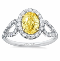 Oval Yellow Diamond Engagement Ring with Looped Shank