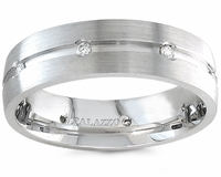 Palladium and Diamonds Wedding Ring 7mm