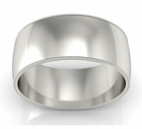 Palladium Milgrained Wedding Ring for Men (9 mm)