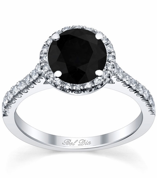 Pave Accented Black Diamond Halo - click to enlarge