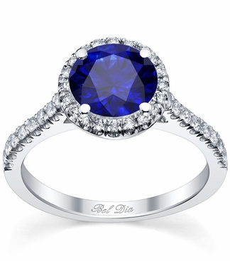 Pave Accented Blue Sapphire Halo - click to enlarge