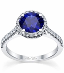 Pave Accented Blue Sapphire Halo