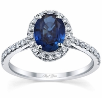 Pave Accented Oval Blue Sapphire Halo