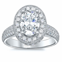 Pave Accented Oval Halo with Milgrain