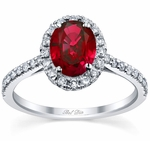 Pave Accented Oval Ruby Halo