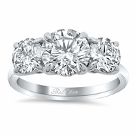 Pave Accented Three Stone Engagement Ring