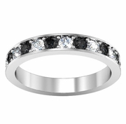 Pave Alternating Black and White Diamond Eternity Band (1.30 cttw)