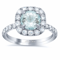 Pave Diamond Cushion Halo Engagement Ring for Round Aquamarine