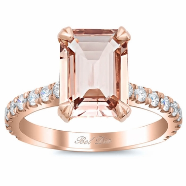 Pave Diamond Engagement Ring for Emerald Cut Morganite - click to enlarge