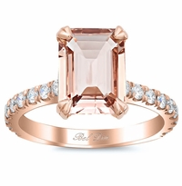 Pave Diamond Engagement Ring for Emerald Cut Morganite