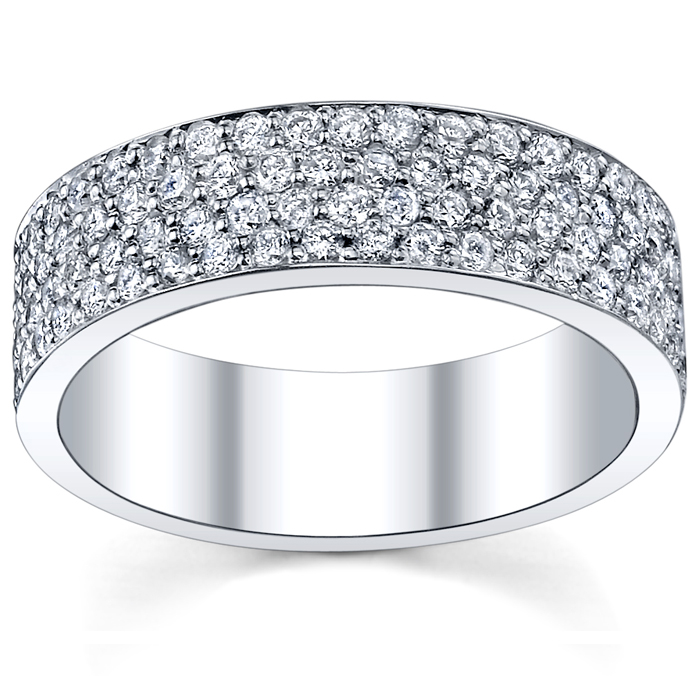 Pave Diamond Eternity Wedding Bands Four Row Setting