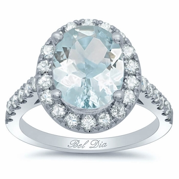Pave Diamond Oval Halo Engagement Ring for Aquamarine - click to enlarge