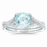 Pave Diamond Twisted Engagement Ring for Round Aquamarine