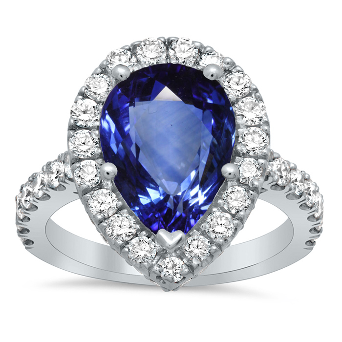 pave halo engagement ring with pear sapphire - Sapphire Wedding Rings