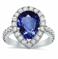 Pave Halo Engagement Ring with Pear Sapphire
