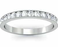 Pave in a Single Row on an Eternity Band with Milgrain