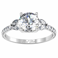 Pave Leaf Accented Diamond Engagement Ring