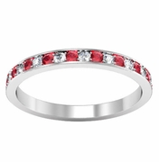 Pave Ruby Eternity Ring with Diamonds (0.50 cttw)