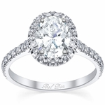Pave Setting Oval Diamond Halo Engagement Ring