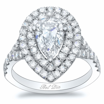 Pear Baby Split Double Halo Engagement Ring - click to enlarge
