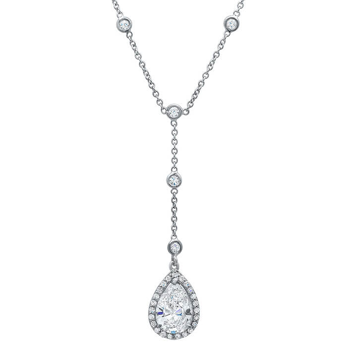 halo pear necklace shaped diamond carat pendant with