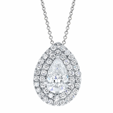 Pear Double Halo Diamond Necklace - click to enlarge