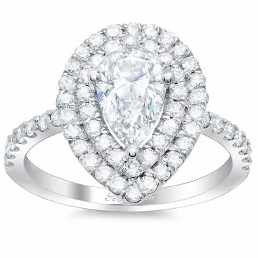 Pear Double Halo Engagement Ring - click to enlarge