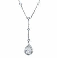 Pear Halo Diamond Drop Necklace